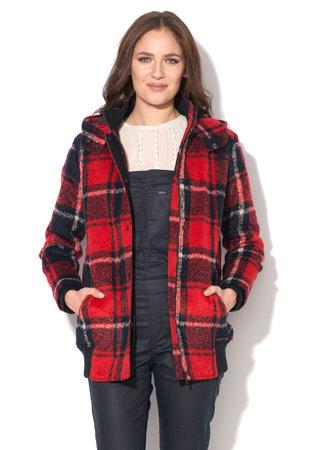 Jacheta rosu cu negru in carouri cu gluga Margarette