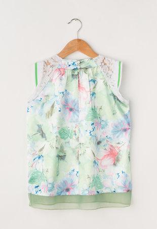 Rochie verde matasoasa cu imprimeu floral