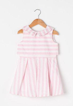Rochie alb cu roz pastel in dungi