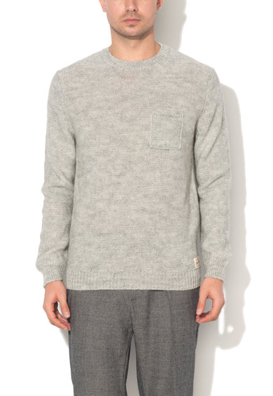 Pulover gri deschis din amestec cu lana si lana alpaca de la United Colors Of Benetton