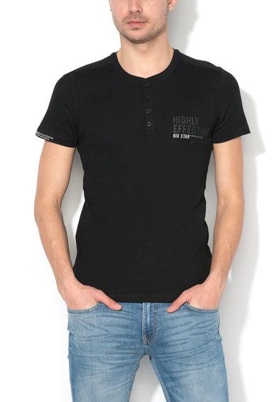 Tricou negru slim fit cu striatii Webad de la Big Star