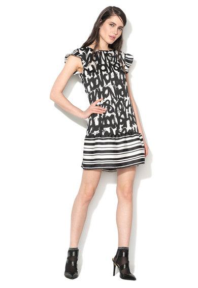 Rochie negru cu alb cu imprimeu graffiti de la Sisley