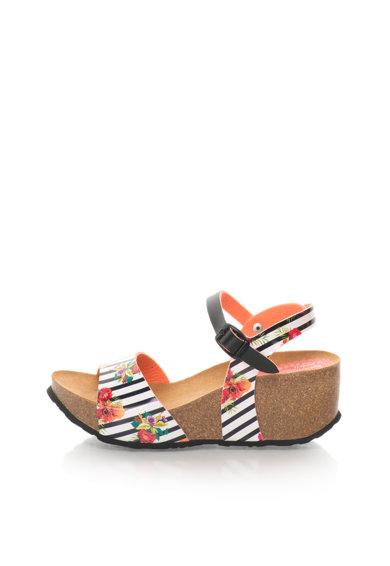 Sandale wedge negru si alb cu model floral de la Desigual