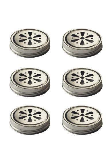 Set de capace argintii pentru pahare – 6 piese de la Kilner