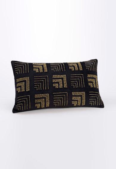Perna decorativa cu husa neagra cu margele aurii Retro Chic de la Amadeus