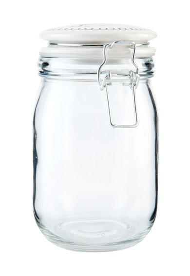 Recipient de sticla alb transparent cu capac de la Clayre  Eef