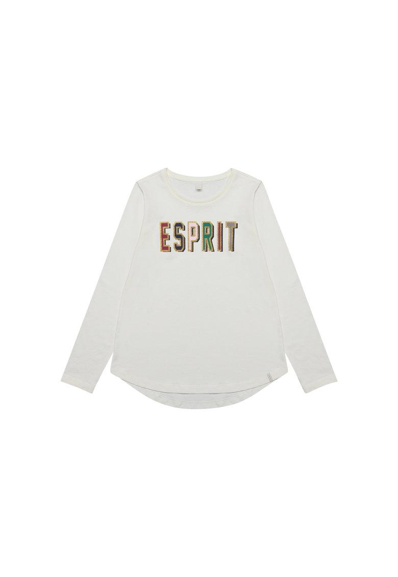 Bluza cu decolteu la baza gatului si logo brodat de la Esprit