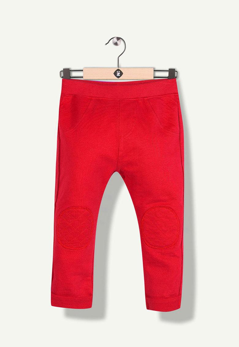 Pantaloni jogger cu aplicatii in zona genunchilor si talie elastica de la Z Kids