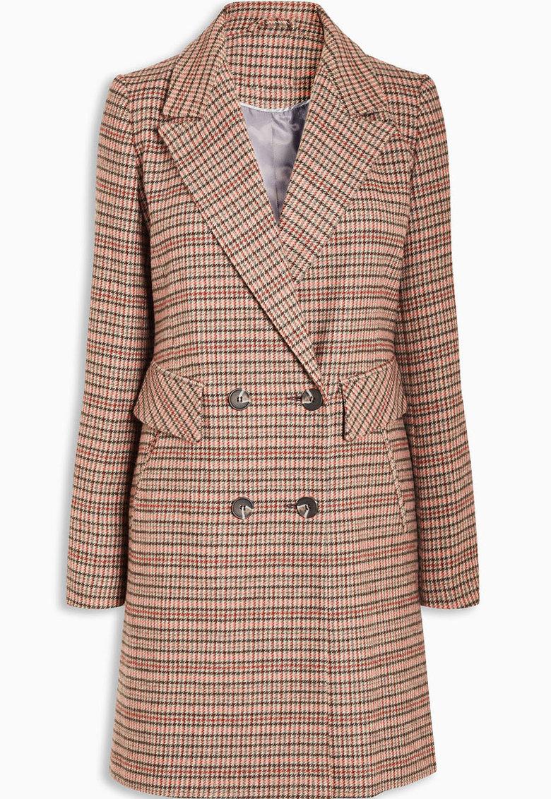 Haina din amestec de lana cu doua randuri de nasturi si imprimeu houndstooth de la NEXT