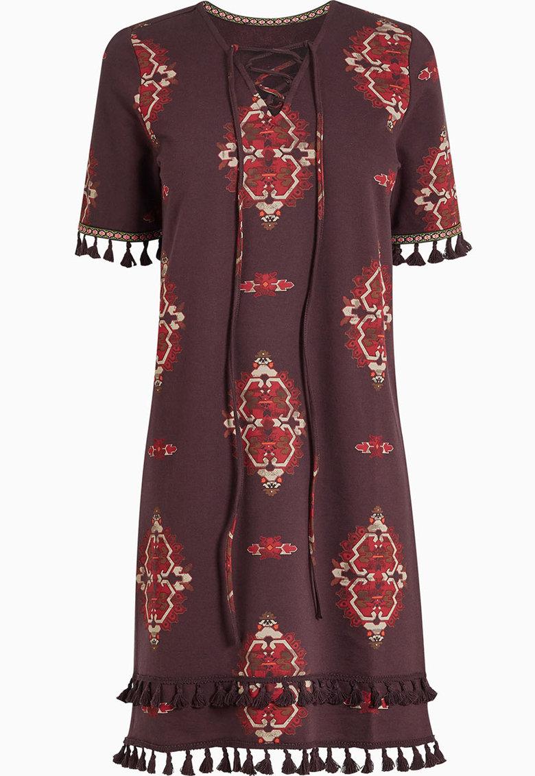 Rochie cu imprimeu si garnituri cu franjuri