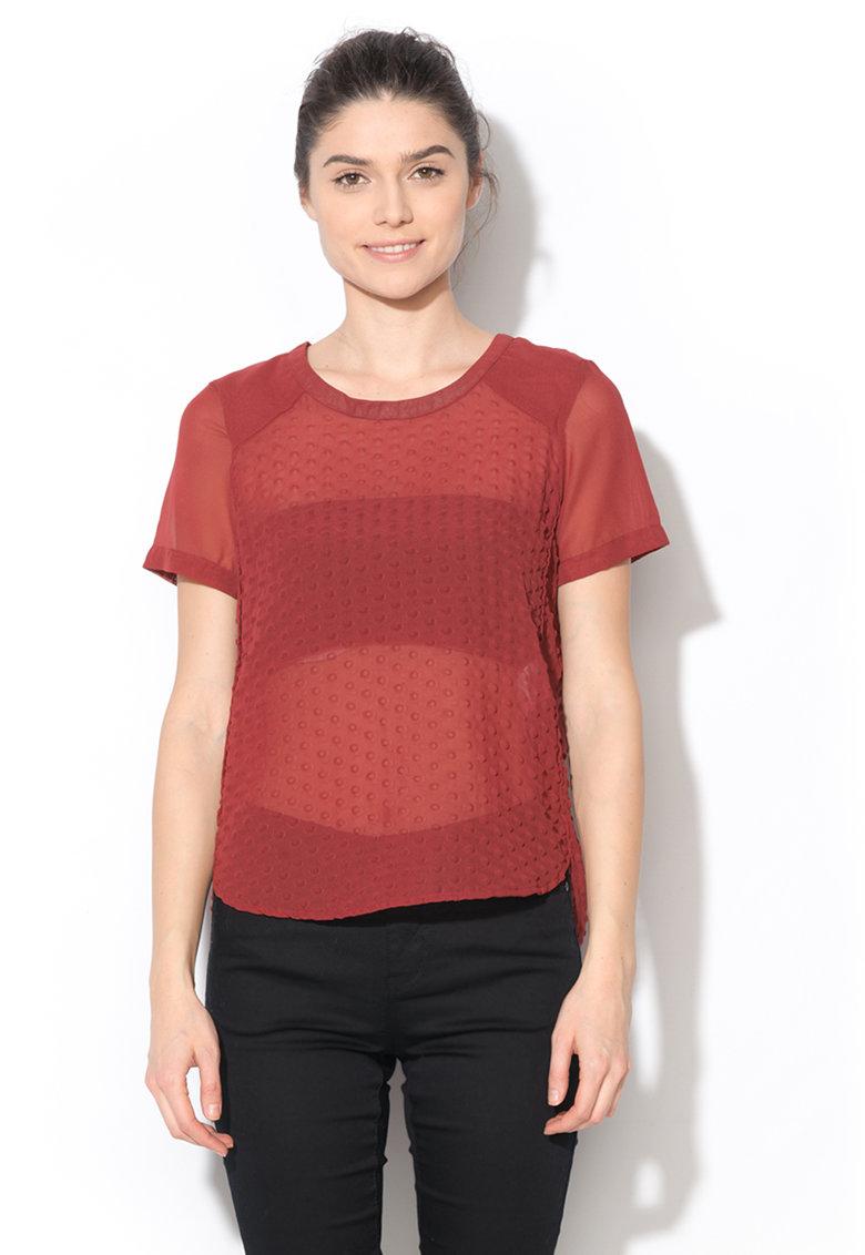 Vero Moda Tricou rosu inchis semitransparent Halo