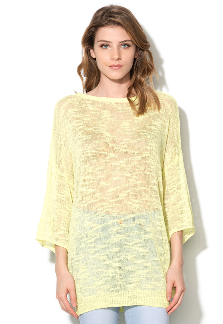 United Colors Of Benetton Bluza galben chartreuse transparenta cu maneci ¾