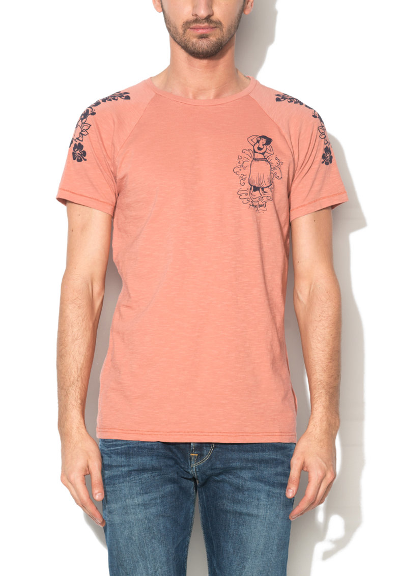 Pepe Jeans London Tricou slim fit rosu terracota cu imprimeu Khaya