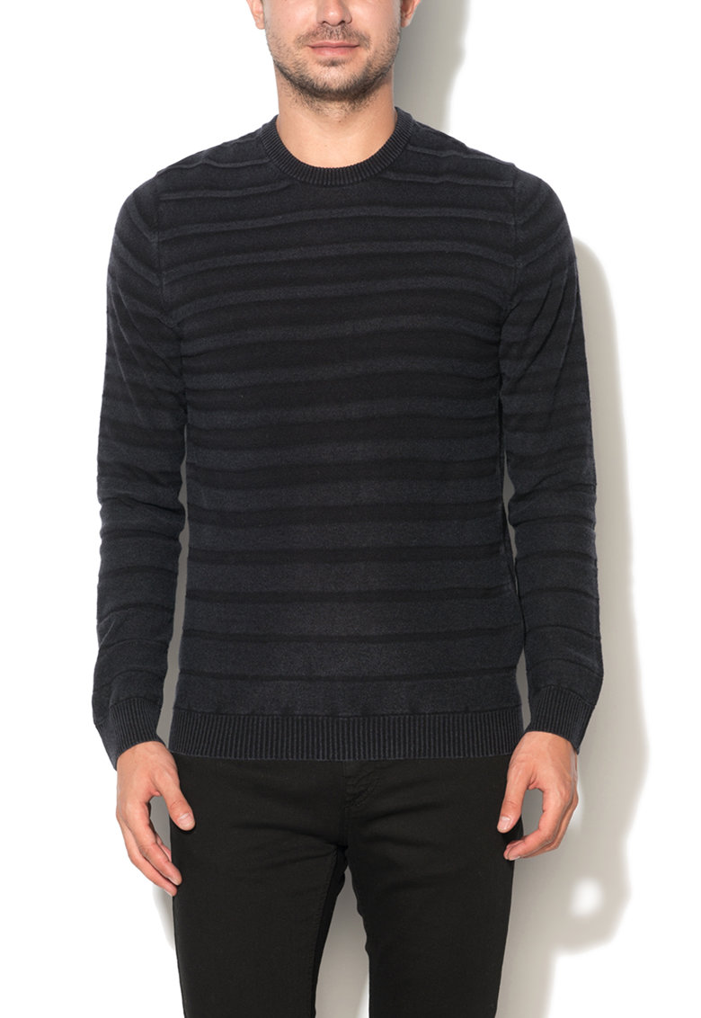 United Colors Of Benetton Pulover slim fit negru cu model in dungi