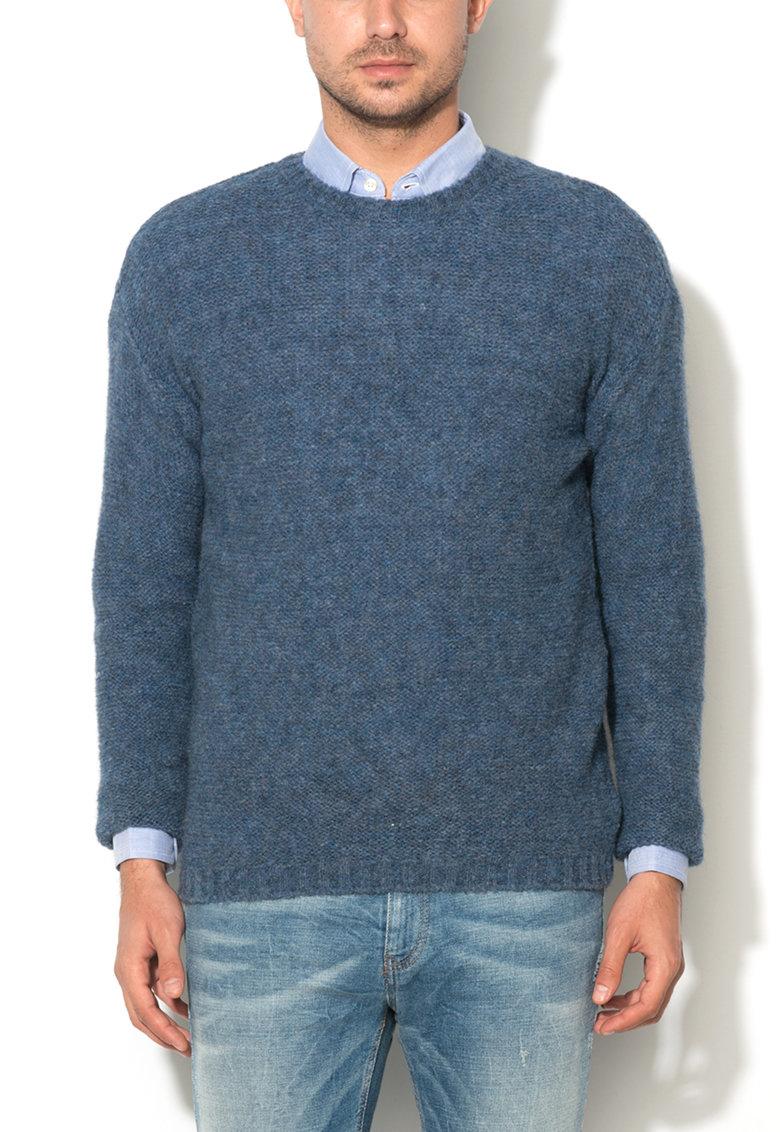 United Colors of Benetton Pulover albastru melange din amestec cu lana alpaca