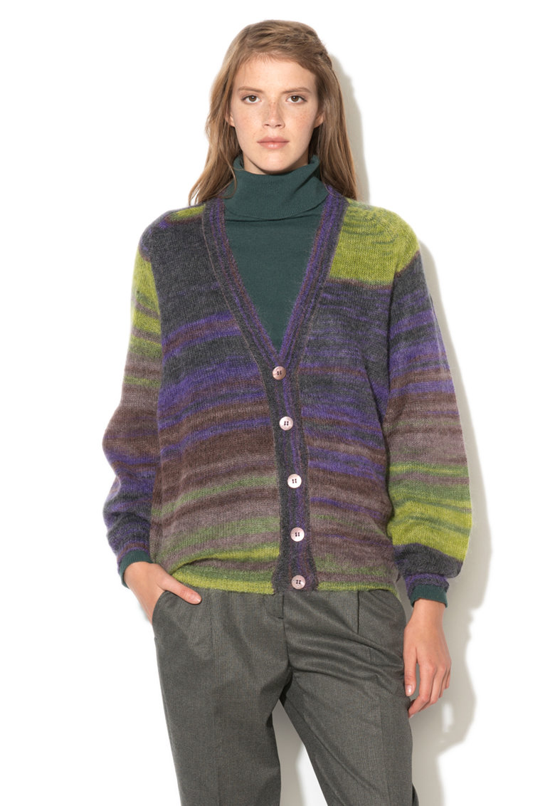 United Colors Of Benetton Cardigan multicolor din amestec cu mohair