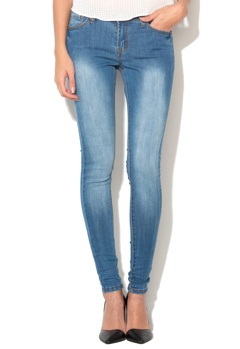 BRAVE SOUL Jeansi skinny albastri din material elastic Rita