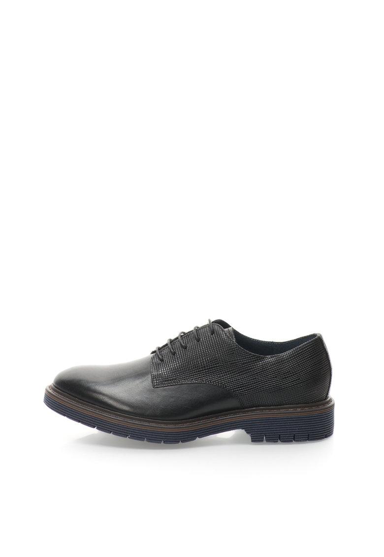 Zee Lane Pantofi negri de piele cu detalii texturate Lantac