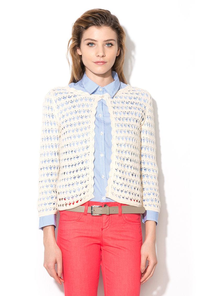 United Colors Of Benetton Cardigan alb fildes tricotat cu perforatii