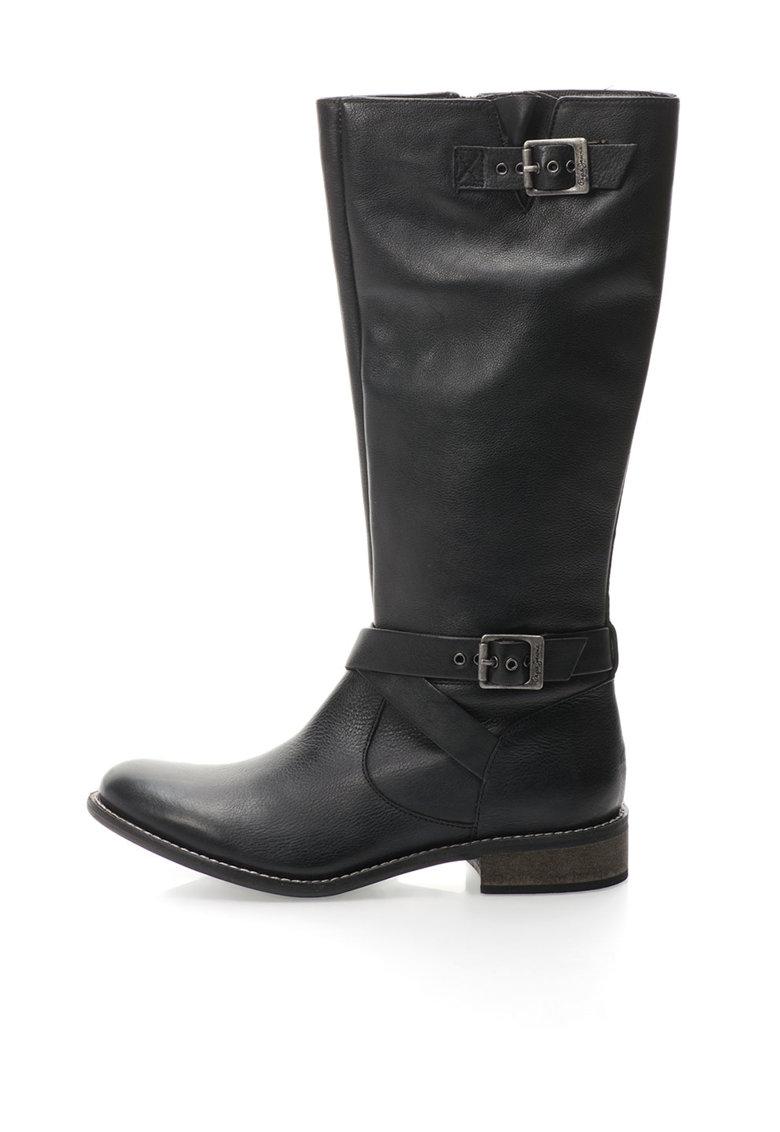 Pepe Jeans London Cizme negre de piele cu barete cu catarame decorative