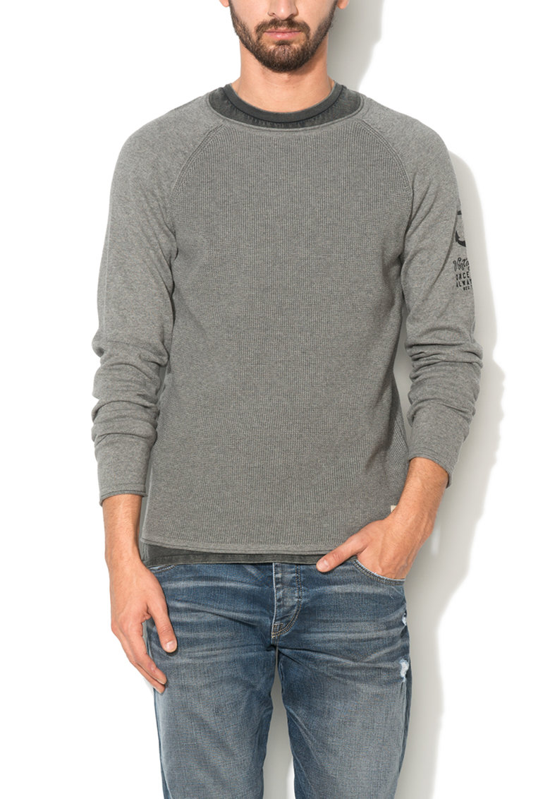 JackJones Pulover gri melange regular fit Harbour