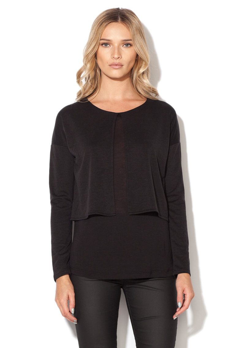 Mexx Bluza neagra cu design suprapus