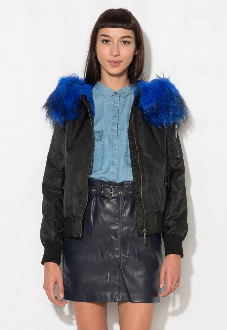 Zee Lane Denim Jacheta neagra cu garnitura albastra din blana sintetica