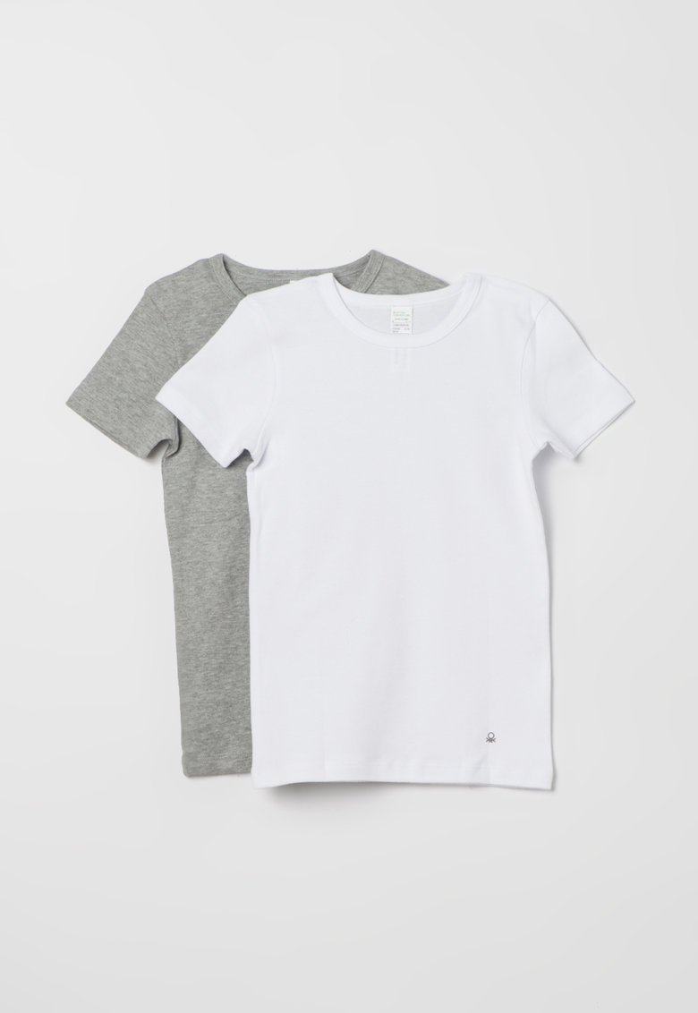 Undercolors of Benetton Set de tricouri gri melange cu alb – 2 piese