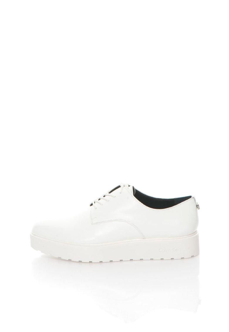 Calvin Klein Pantofi Oxford flatform albi Victorina