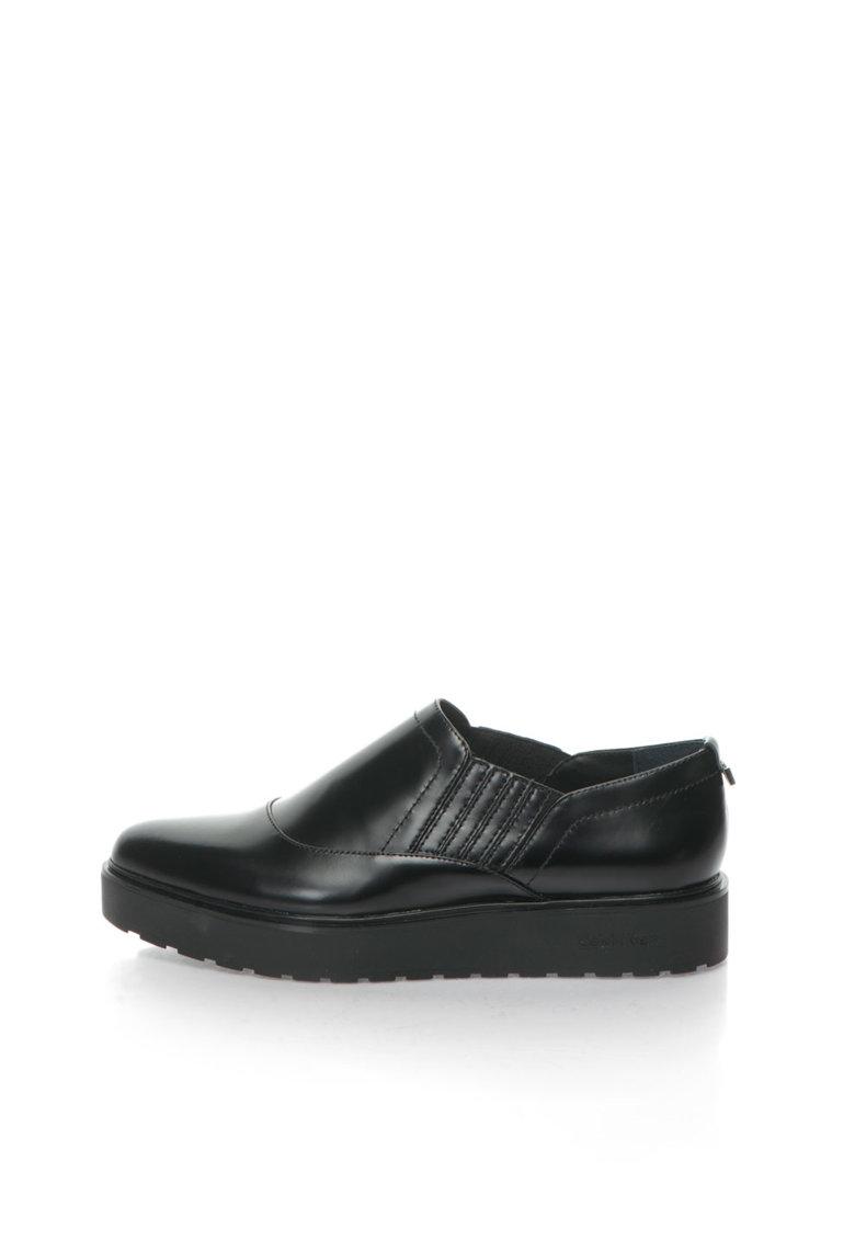 Calvin Klein Pantofi flatform slip-on negri de piele Vikki