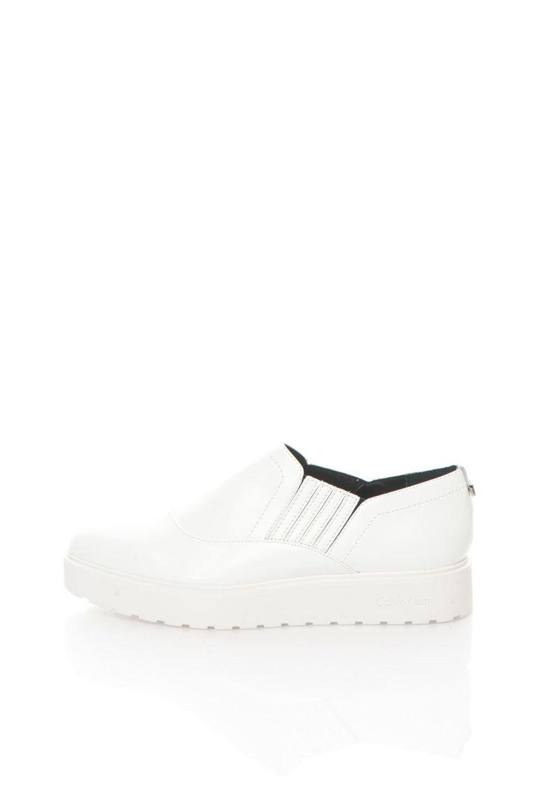 Calvin Klein Pantofi flatform slip-on albi de piele Vikki