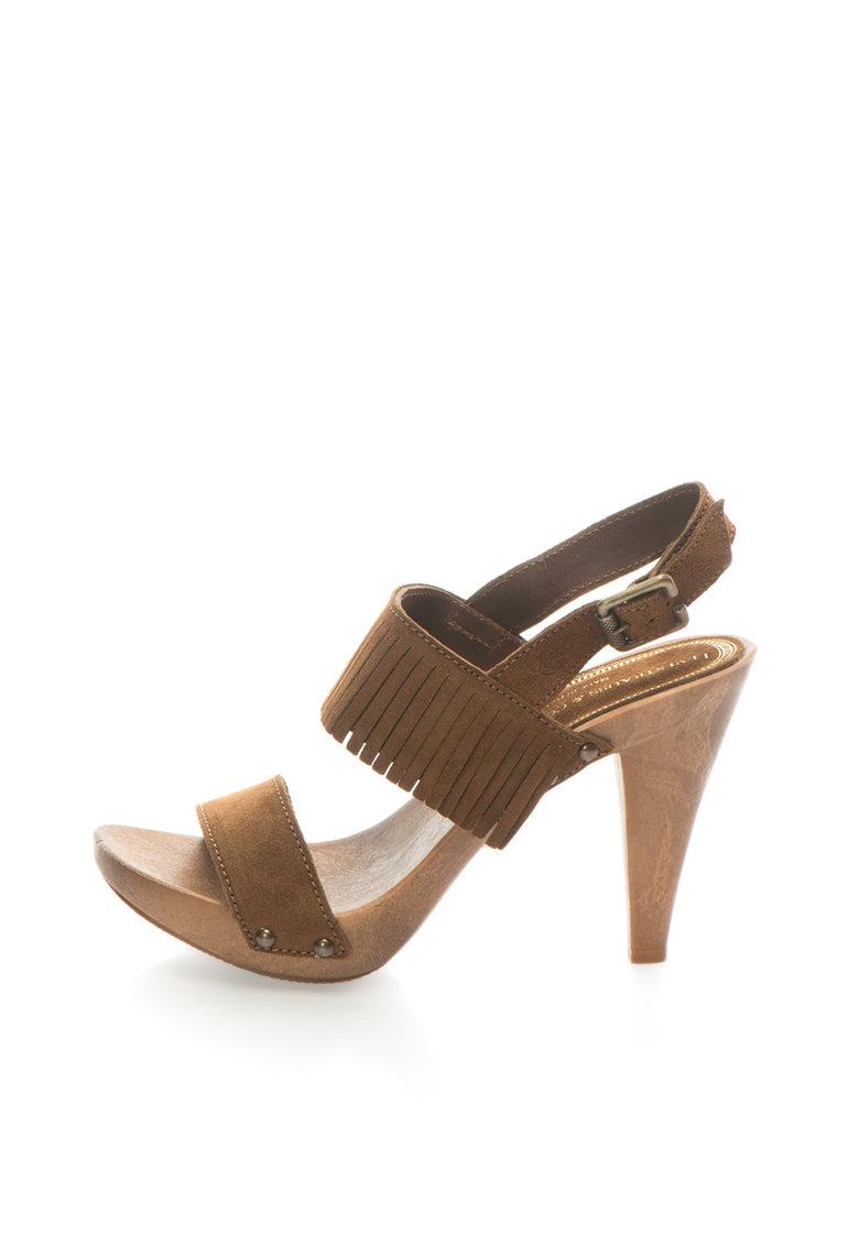 Sandale maro de piele intoarsa cu toc inalt