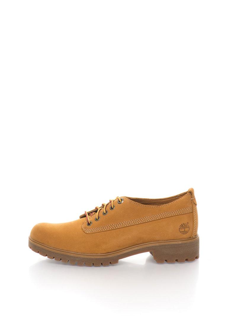 Pantofi maro camel de piele nabuc