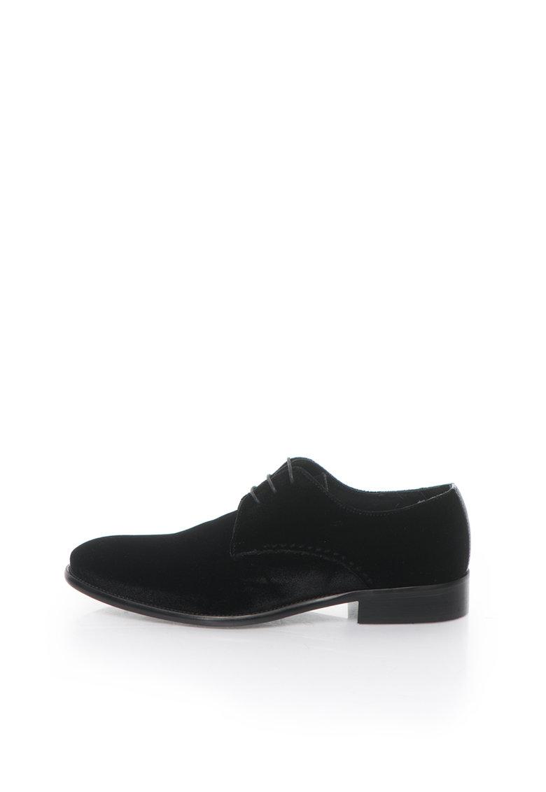 Zee Lane Pantofi derby negri catifelati
