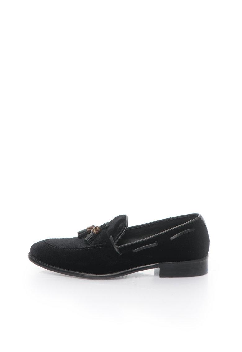 Pantofi boat negri catifelati