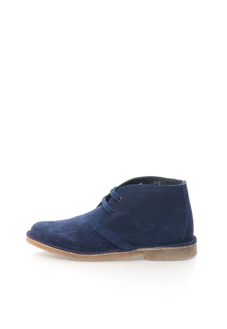 United Colors of Benetton Ghete Chukka texturate bleumarin de piele intoarsa