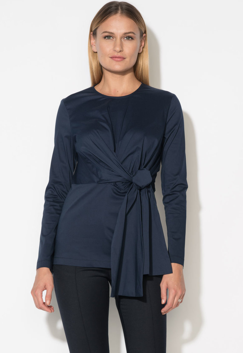 Zee Lane Collection Bluza bleumarin inchis cu aspect infasurabi