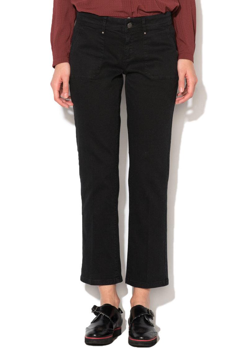 Esprit Pantaloni crop negri cu buzunare