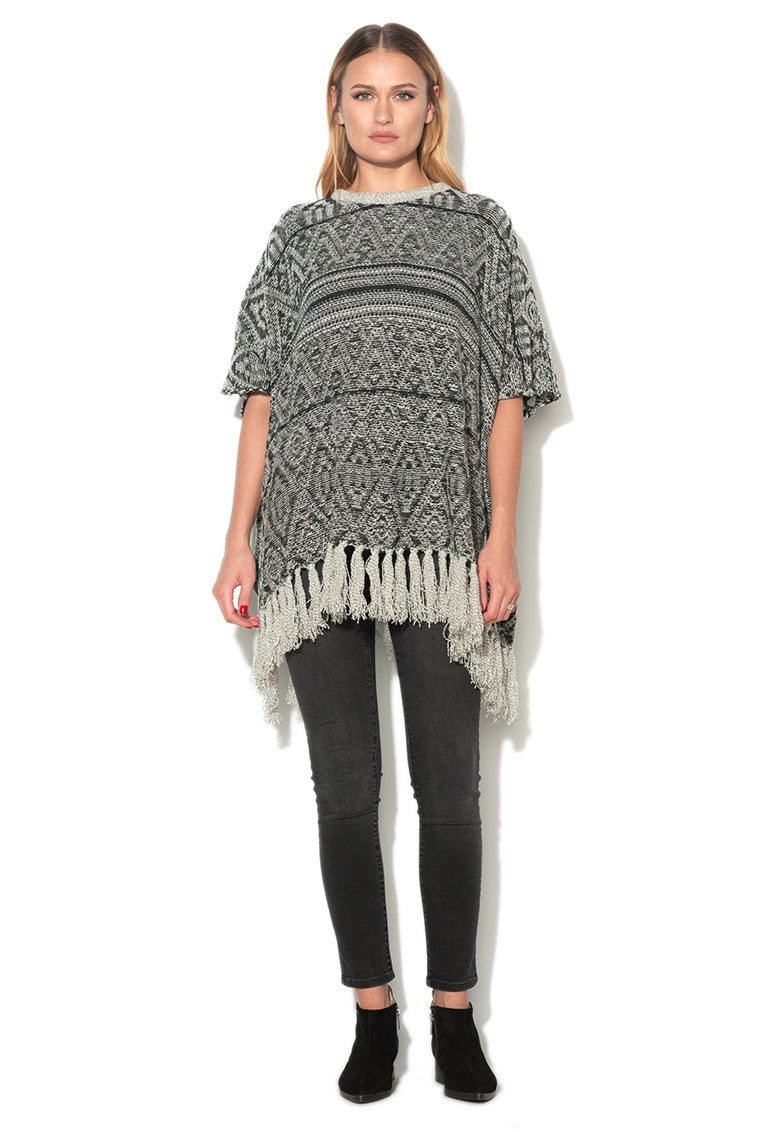 Esprit Poncho tricotat negru cu alb cu franjuri