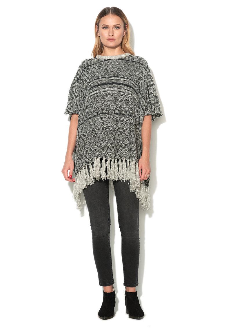 Poncho tricotat negru cu alb cu franjuri de la Esprit