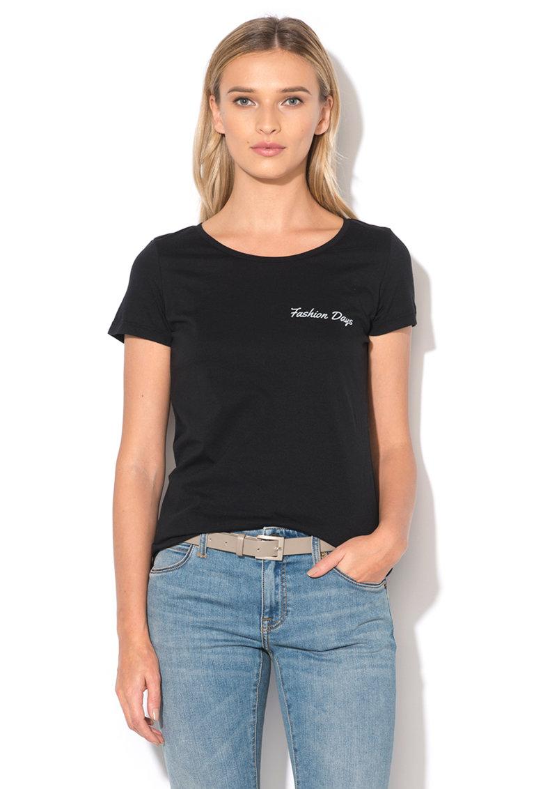 Fashion Days Tricou negru cu imprimeu logo Signature