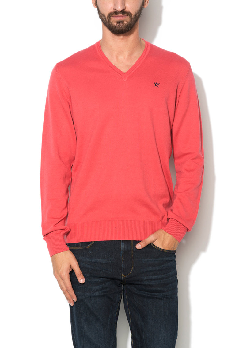 Hackett London Pulover rosu capsuna tricotat fin din bumbac pima
