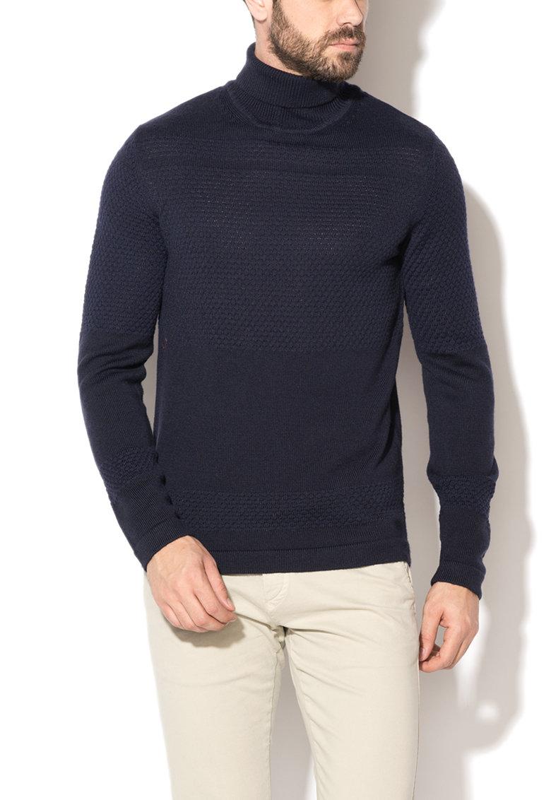 Pulover bleumarin texturat din amestec de lana Sailor