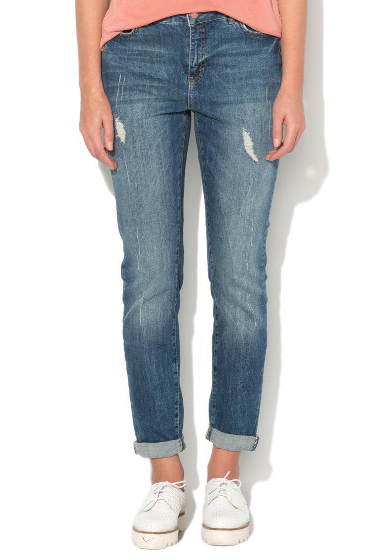 Vero Moda Jeansi albastri cu detalii deteriorate Kim