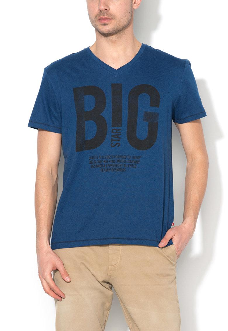 Tricou albastru inchis cu imprimeu text si decolteu in V de la Big Star