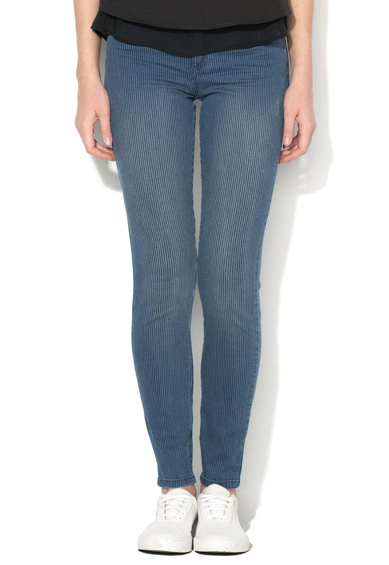 Esprit – Jeansi skinny albastri cu model in dungi 017EE1B002-400