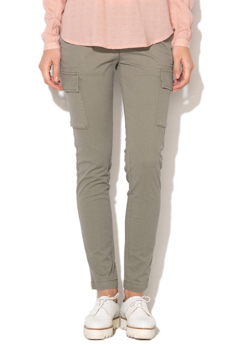 Pantaloni cargo conici verde militar Malibu