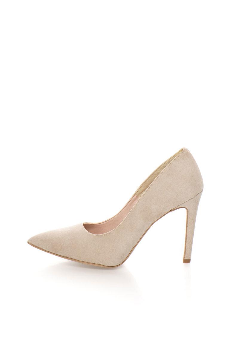 Pantofi bej de piele intoarsa sintetica Miriam de la Oakoui