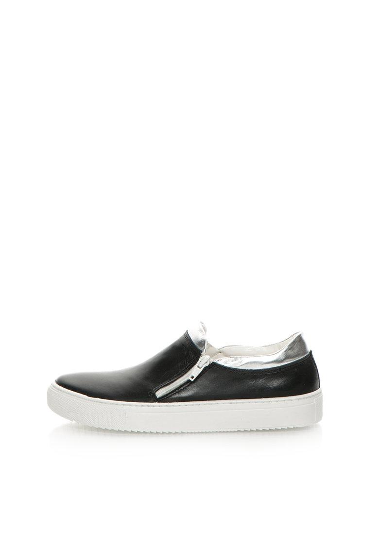 Zee Lane Pantofi slip-on negru cu argintiu de piele
