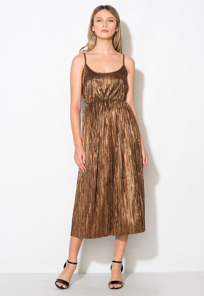 Rochie maro bronz cu bretele inguste